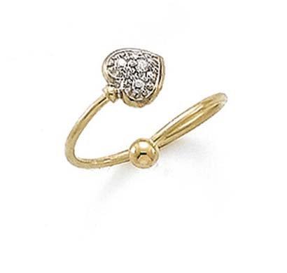 - 14k Two-Tone Gold Diamond Heart Ball Toe Ring