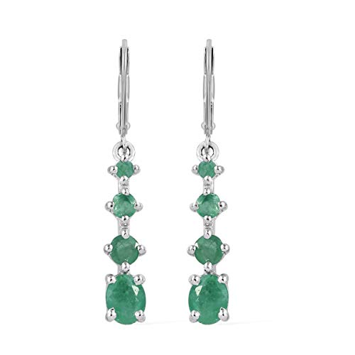 (925 Sterling Silver Platinum Plated Oval Emerald Dangle Drop Earrings Jewelry for Women Cttw 0.9)