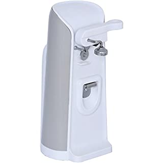 Brentwood J-30W Tall Electric Can Opener with Knife Sharpener & Bottle Opener, White