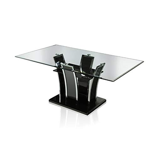BOWERY HILL Glass Top Dining Table in Black