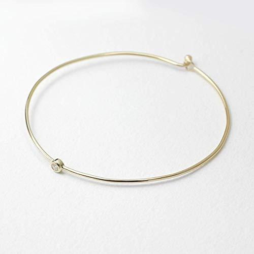 Bezel Set Diamond Bangle Bracelet, Minimalist Bracelet, 14K Solid Gold Bangle Diamond Bracelet, Bangle Bracelet