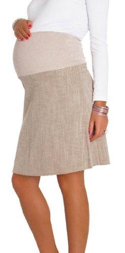 Zeta Ville Women's Smart Cotton Overbump Maternity Pregnancy Skirt 250, Beige, XXXL UK 18