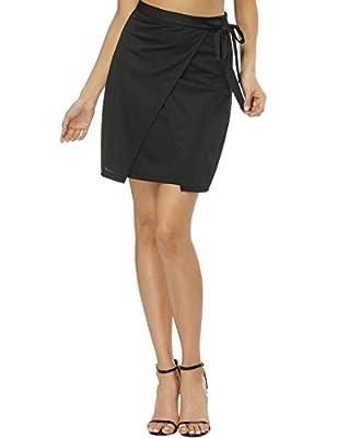 Fancyqube Women's Slim High Waist Short Asymetric Tulip Hem Split Wrap Style Pencil Envelope Mini Skirt