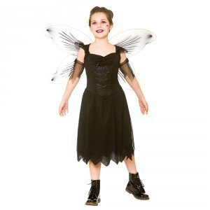 Dark Fairy Girl's Costume Fantasy Halloween Fancy (Child Fairy Costume Uk)