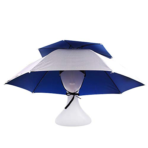 KASULAR Umbrella Hat Sun Rain Cap Double Layer, Elastic Headband, Adjustable Head Size, Hands Free, Party Dress Up for Outdoor Fishing Gardening Beach Golf Headwear(Silver/Double Layer)