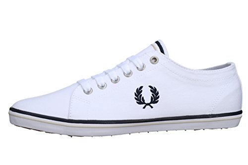 (Fred Perry Men's Kingston Twill White/Navy/Natural 9 D UK D)