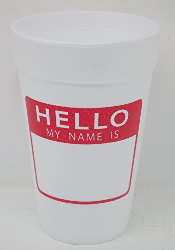 HELLO My Name Is Styrofoam Drinking Cups 10 (16 Oz.) Pack - White With Red Lettering Printed On Front & Back