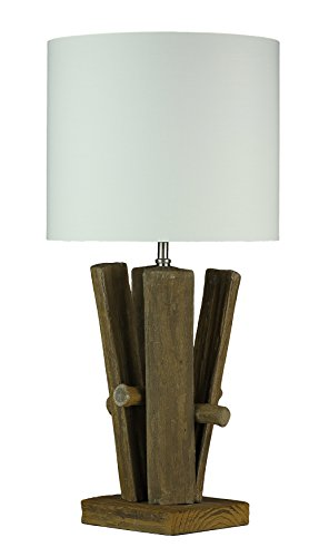 Cortesi Home CH-TL303113 Split Log Cream Shade Table Lamp, 13