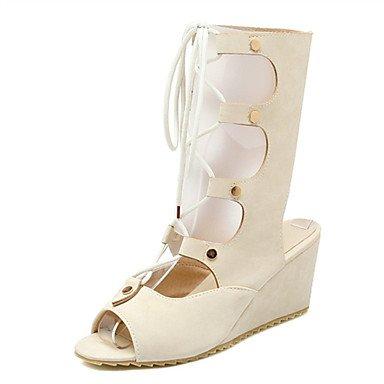 LvYuan Mujer-Tacón Cuña-Innovador Zapatos del club-Sandalias-Vestido Informal Fiesta y Noche-Cuero Patentado Materiales Personalizados-Negro Black
