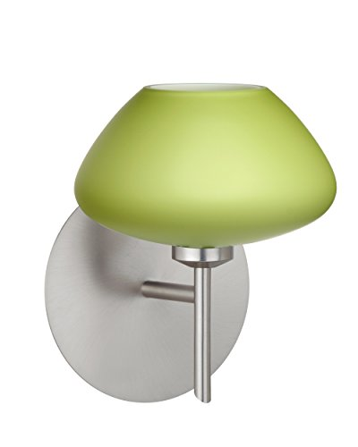 Besa Lighting 1SW-541035-LED-SN Besa, Peri Mini Sconce, Chartreuse, Satin Nickel Finish, 1x5W LED (Sconce Satin Peri)
