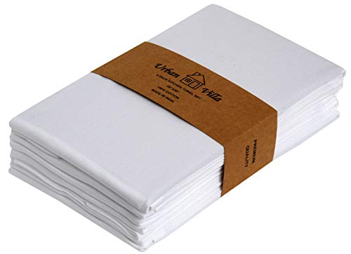 (Urban Villa White Kitchen Towels, Premium Quality,100% Cotton Ultra Soft Dish Towels, (Size: 20X30 Inch), White Highly Absorbent Bar Towels & Tea Towels - (Set of 6))
