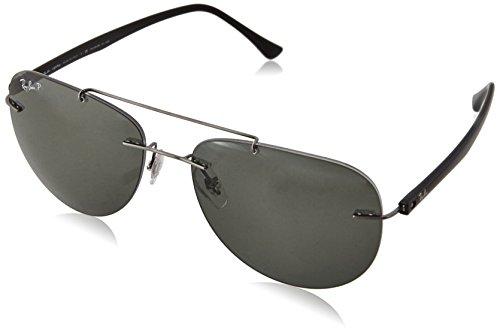 Ray-Ban Men's Titanium Man Polarized Round Sunglasses, Gunmetal, 57 - Ray Clubmaster Ban Titanium