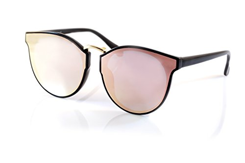 FBL Horn Rimmed Gradient Mirror Lens Cat-Eye Round Couple Sunglasses A197 (Black/Pink RV) by Fa.Beau.Lux