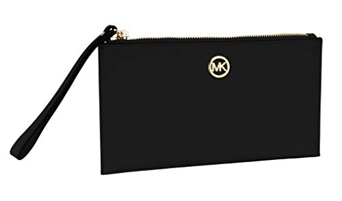 Pebble Leather Wristlet - Michael Kors Womens Fulton Leather Pebble Grain Zip Clutch Wristlet - Black (Large)