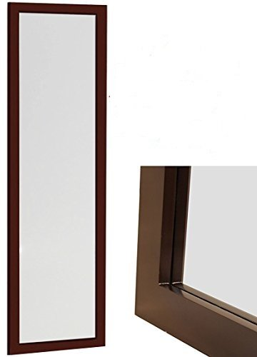 Organize City Brown Full Length Wall Mirror, Over the Door Mirror Wall Rectangular with Installation and Instructions Included – 14'' x 48''