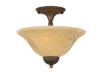 Toltec Lighting 120-BRZ-528 Two-Bulb Semi-Flush Mount Bronze Finish with Italian Marble Glass, 12-Inch