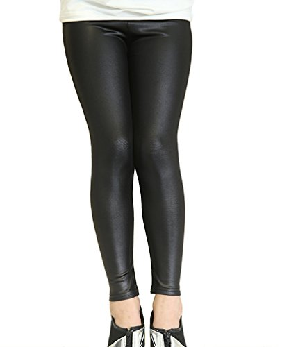 Swtddy Kids Girls Leggings Stretch Faux Leather Pants Tights Slim Thin Trousers (Tab Size 130(for Height 120-130cm), Black)