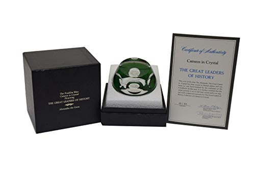 - Franklin Mint 1975 Baccarat Crystal Cameo Paperweight Alexander The Great COA
