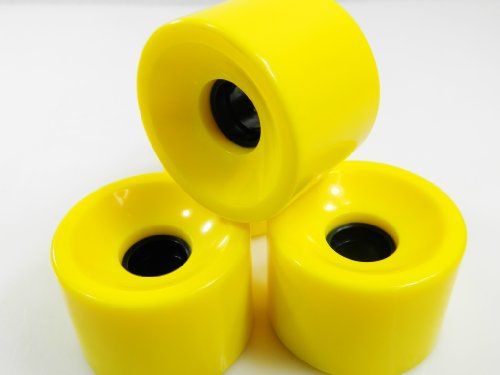 70mm Pro Longboard Skateboard Wheels Solid Gel Colors (Solid Yellow)