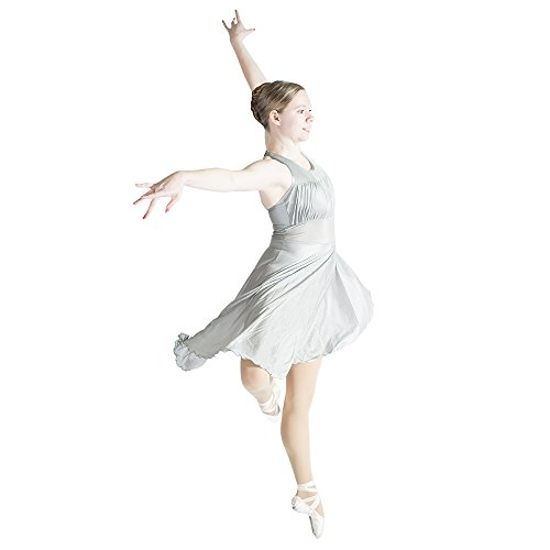 Leotard Halter Dance (Adult Girls Lyrical Halter Leotard Dance Dress Mesh Shiny Nylon and Spandex (XL, Silver Gray))