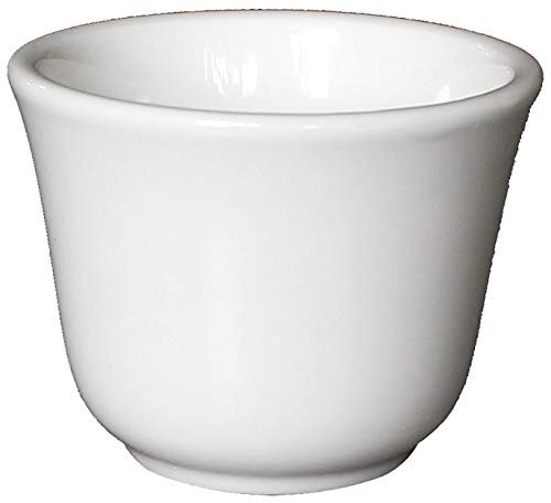 (Restaurant Cameo Ceramic Flared Lip Teacups with Scraper, White Ivory (6 Pack, 4)