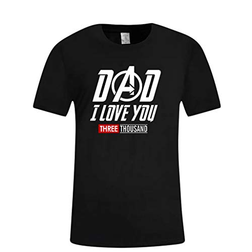 KLGDA Father's Day Men's Summer O-Neck Casual Print Short Sleeve T-Shirt Tops for DAD I Love You 3000 -