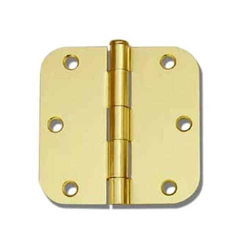 "12 PC Polished Brass 3.5""X3.5"" 5/8 Round Corner Interior Door Hinges"
