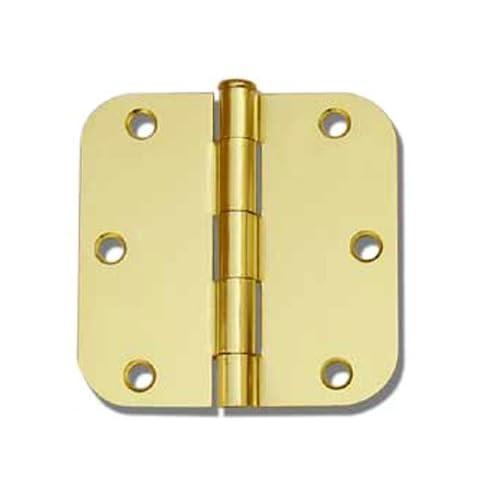 "12 PC Polished Brass 3.5""X3.5"" 5/8 Round Corner Interior Door Hinges"