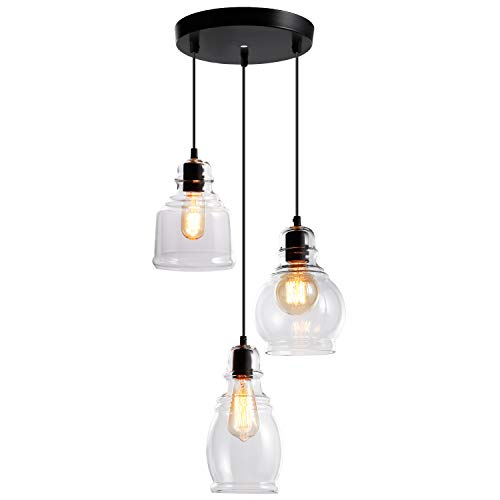 ESCENA Glass Pendant Light, UL-Listed Classic Hanging Lighting Fixture, Elegant Antique Clear Jar Chandelier, for Kitchen Sink, Dinning Room, Bar, Cafe