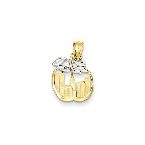 (Jewelry Stores Network 14K White Gold Cut-Out New York Skyline in Apple Pendant 19x13mm)