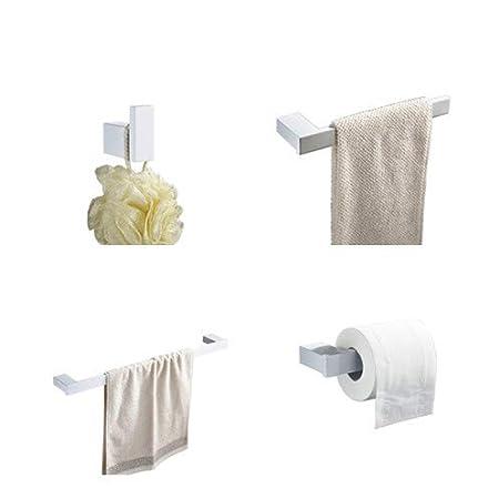 4 Piece Bathroom Accessory Set Kelelife 304 Stainless Steel Towel Bar+Towel Holder+Toilet Roll Holder + Robe Hook Kit, Brushed Nickel Heqisheng