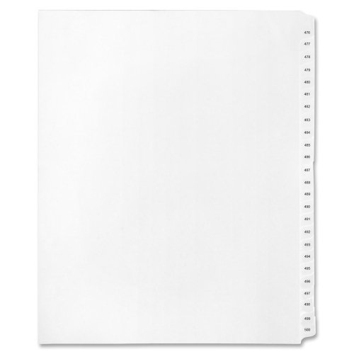 Kleer-Fax Letter-Size Index Dividers, Collated Numbered Sets, Side Tab, 1/25th Cut, 1 Set per Pack, White, 476-500 (91920)