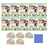 Fujifilm Instax Mini Instant Film, 2x10 Shoots x10 Pack (Total 200 Shoots) + withC Microfiber Cleaning Cloth+ Free 100PCS Sticker for Fuji Mini 90 8 70 7s 50s 25 300 Camera SP-1 Printer  -