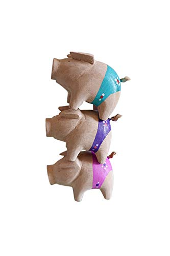 Christmas,New Year Gift ONE2T Family Pig Set of 3 Thanksgiving Blue Purple Pink Wooden Hand Carved Animal Sculpture Statue Decor Home