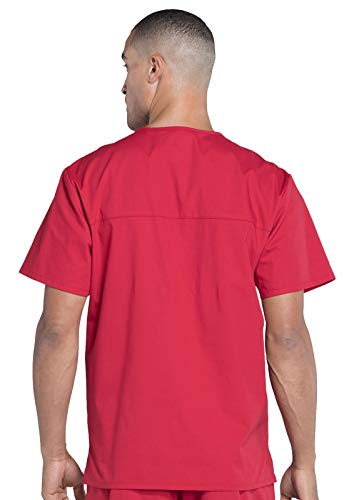 CHEROKEE WW Professionals Men's V-Neck Scrub Top, WW695, XS, Red