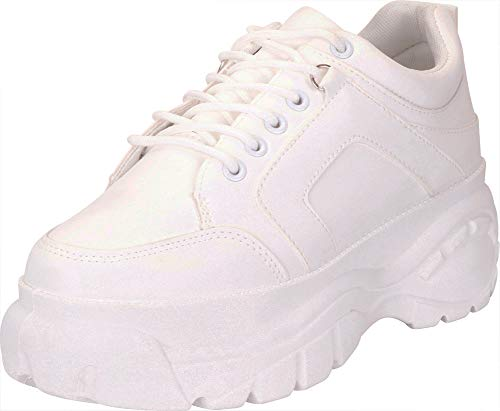 Cambridge Select Women's Retro 90s Ugly Dad Rave Lace-Up Chunky Platform Fashion Sneaker,7 M US,White
