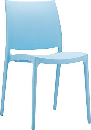 Clear Chair Store 025LB Maya Indoor and Outdoor Stacking Chair (Set of 4), Light Blue - The Latest Generation Of Air Molding Process High Quality Product , Stackable For Easy Storage ,Suitable For All Weather Conditions, Indoor And Outdoor Use, Recyclable Polypropylene Stylish, Innovative, Modern And Luxury Chair With The Most Cutting Edge Design From Clear Chair Store - patio-furniture, patio-chairs, patio - 31Wkr4%2BbgTL -