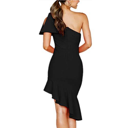 68f67a181db laiyuan Womens Summer Sexy Cocktail Dress One Shoulder Backless Cute Midi Bodycon  Dress