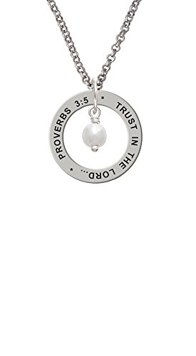 Three Drop Circle Pendant (6mm Glass Imitation Pearl Bead Drop - Proverbs 3:5 Affirmation Ring Necklace)