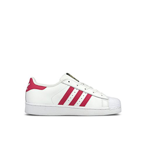 Adidas Girls' Superstar Foundation EL C Sneaker, White/Pink/Buzz White, 11 M US Little (Foundations Girl)