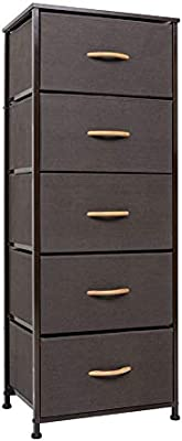 Crestlive Products Vertical Dresser Storage Tower - Sturdy Steel Frame, Wood Top, Easy Pull Fabric Bins, Wood Handles - Organizer Unit for Bedroom, ...