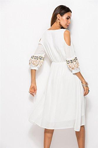 CLOVER Hülsen Sommer Kleid Frauen Kleider Shirt LUCKY T Minirock Beiläufiges Trägerlose A Halbe White Fw0qwd6
