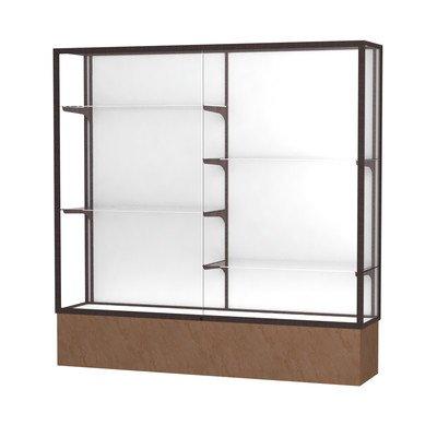Monarch Series Lighted Floor Display Case Frame Color: Satin, Base Color: Beige Stone, Case Backing: White Laminate