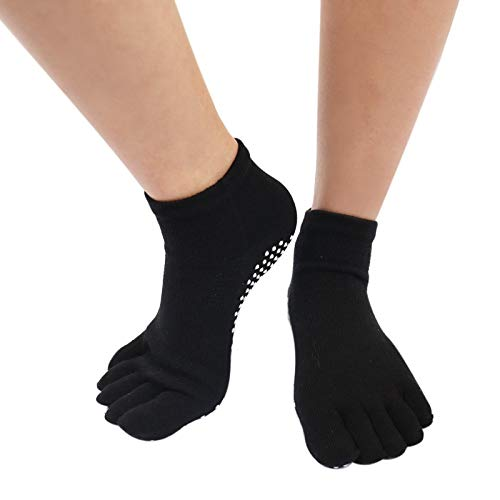 HUBINGRONG 3 Pares Color sólido algodón Calcetines de Yoga ...