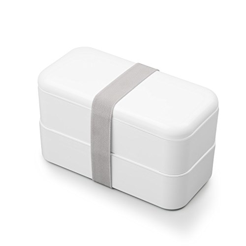 Thousanday Leakproof Bento Lunch Box – Stackable Japanese Box Containers For Adults & Teen & Kids – Microwaveable/Dishwasher/Freezer Safe/FDA Approved (white) by Thousanday