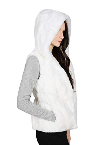OBURLA Women's Genuine Rex Rabbit Hooded Fur Vest - Warm Real Fur Sleeveless Jacket with Hood (Ivory, Small)