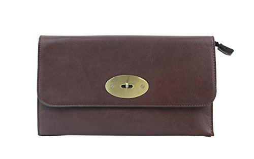 with Womens Bag Lock Envelope London Faux Coffee Leather Strap Long Clutch Craze Shoulder with Twist xYBwPqq
