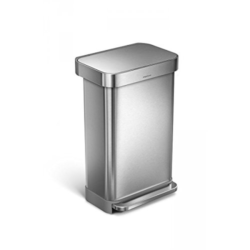(simplehuman 45 Liter / 12 Gallon Stainless Steel Rectangular Kitchen Step Trash Can with Liner Pocket, Brushed Stainless Steel)