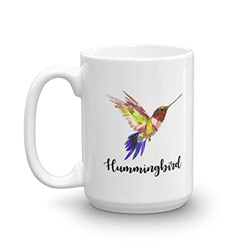Cute Hummingbird Painting Print Coffee & Tea Gift Mug, Favors, Ornament, Kitchen Supplies, Products, Items, Birdwatching Collectibles And Desk Décor For A Bird Lover Nana, Aunt & Mom (15oz) (15 Ounce Hummingbird Feeder)