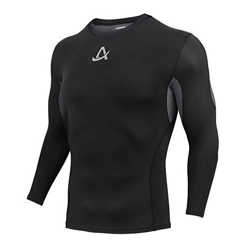 AMZSPORT Heren Thermocompressie Shirt Fleece Lange Mouw voor Wintersport